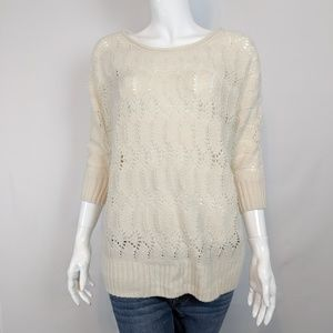 Lauren Conrad Cream Eyelet Scallop Ripple Sweater